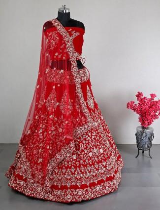 Red velvet wedding wear unstitched lehenga choli