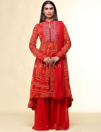 Red wedding wear palazzo suit