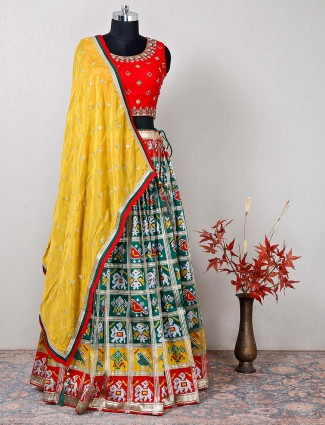 Red wedding wear raw silk lehenga choli for women
