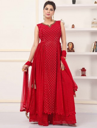 Red wedding wear sequins work details palazzo suit for women