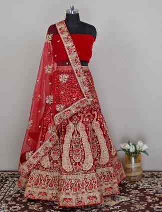 Red wedding wear unstitched lehenga choli in velvet