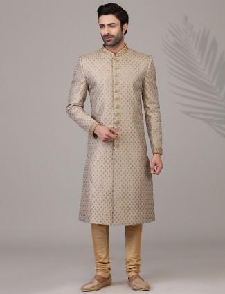 Refined classy beige silk sherwani set