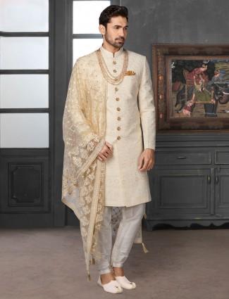 Refined classy lakhnavi work beige silk sherwani