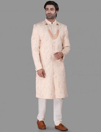 Refined classy peach silk sherwani set