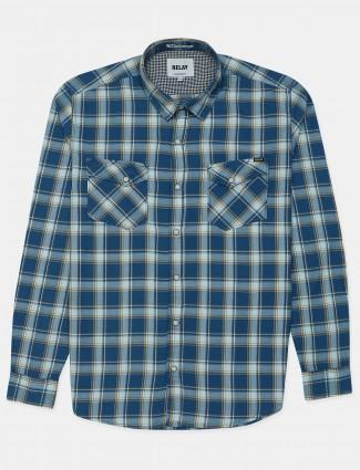 Relay blue checks cotton casual wear shirt