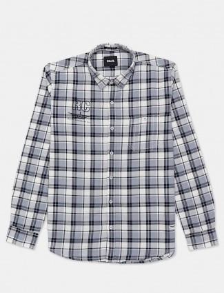 Relay checks grey mens casual shirt