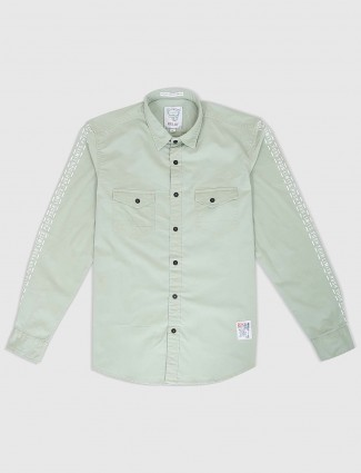 Relay light green colored solid shirt