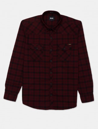Relay maroon cotton shirt with checks