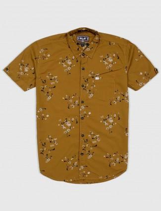 Relay mustard yellow printed shirt for men