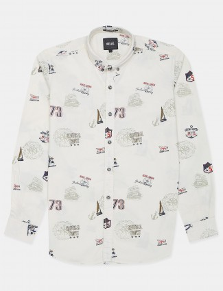 Relay printed cream shirt for men in cotton