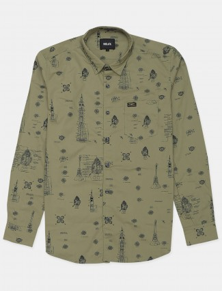 Relay printed olive green shirt for men