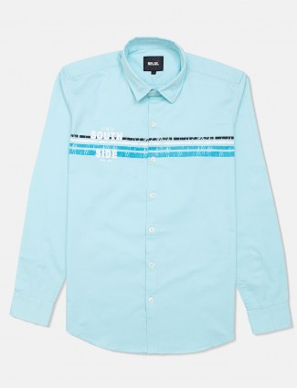 Relay printed sky blue shirt in cotton
