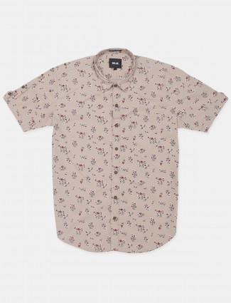 Relay printed style beige hue cotton casual shirt