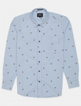 Relay printed style blue slim-fit cotton shirt