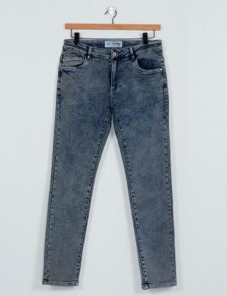 Rex Straut simple dark blue denim slim fit jeans