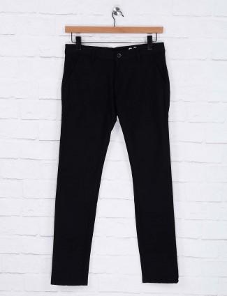 Rex Straut solid black cotton trouser