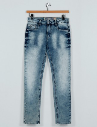 Rex Straut washed blue color slim fit mens jeans