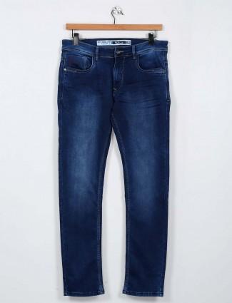 Rex Straut washed dark blue color slim fit mens jeans