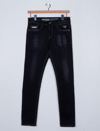 Rexstraut casual wear black denim with slim fit