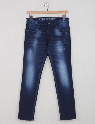 Rexstraut washed navy casual wear denim for men