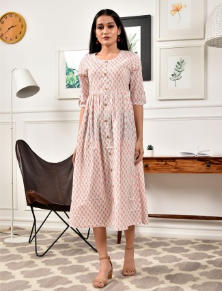Rich cream cotton printed kurti for casual look