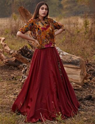 Rich maroon cotton festive wear printed lehenga style salwar suit