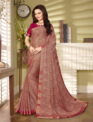 rich maroon printed georgette saree for festive wear