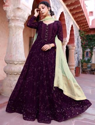 Rich purple georgette festive wear anarkali suit