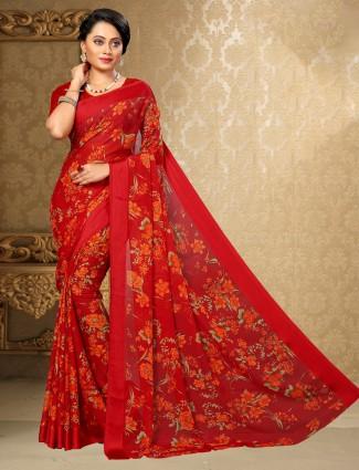 rich red printed chiffon satin saree for festive wear