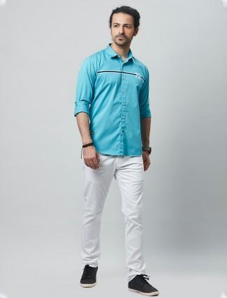River Blue aqua cotton casual wear shirt