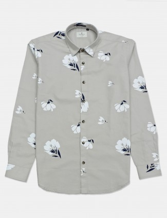 River Blue beige printed casual mens shirt
