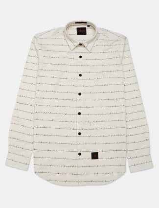 River Blue beige printed casual shirt for mens