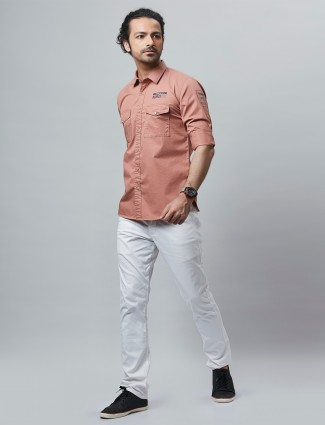 River blue brings stripe style pink shirt for casual look