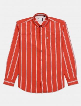 River Blue buttoned down collar orange stripe shirt