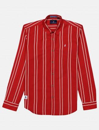 River Blue casual wear stripe red shirt