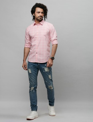 River blue casual wear checks shirt in pink