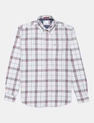 River Blue checks white cotton shirt