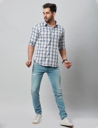 River Blue checks white cotton shirt for casual day out