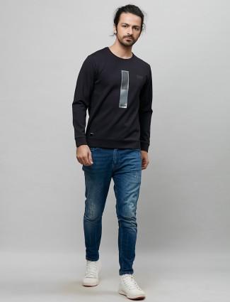 River Blue cotton black solid t-shirt