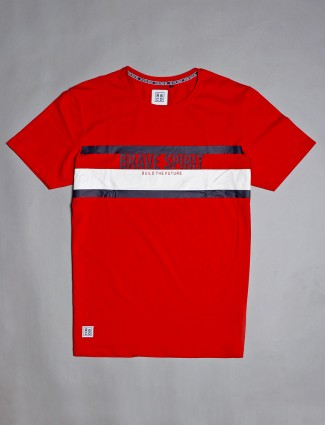 River Blue cotton red printed mans t-shirt