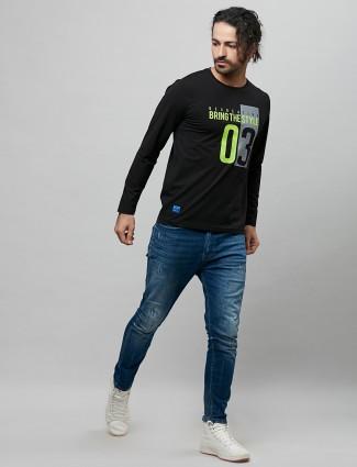 River Blue dark green printed cotton t-shirt