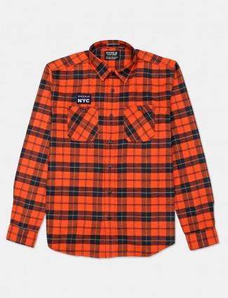 River Blue full sleeves orange checks shirt