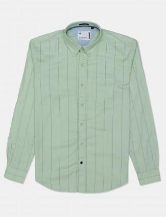 River Blue green casual stripe cotton shirt