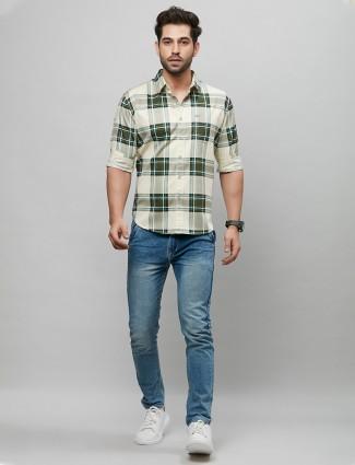 River Blue green check cotton casual shirt