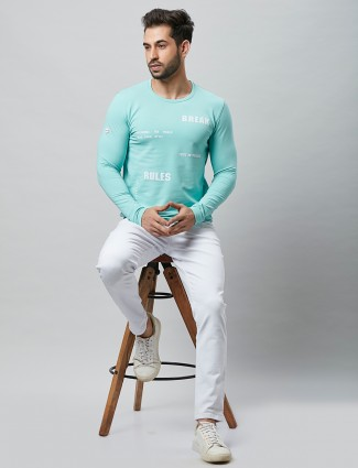 River Blue green printed cotton casual t-shirt