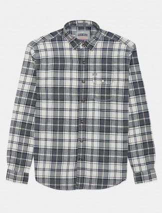 River Blue grey cotton shirt with checks