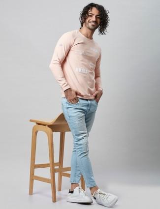 River Blue half sleeves peach printed t-shirt