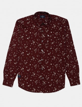 River Blue maroon printed cotton shirt