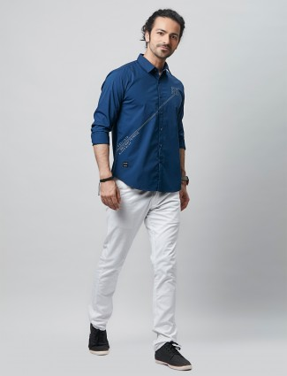 River Blue mid night cotton casual shirt for men