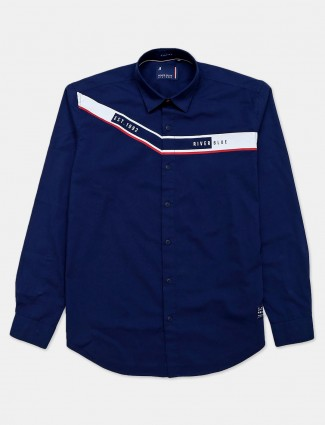River Blue navy printed casual mens casual shirt